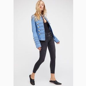 FREE PEOPLE Fitted Military Denim Jean Jacket NEW
